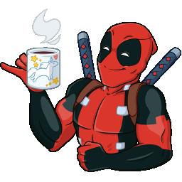 Дэдпул пьёт из кружки с единорогами